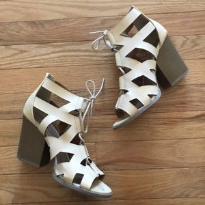 Charlotte Russe chunky nude lace up cutout heels